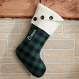 Buffalo Check Christmas Stocking in Green