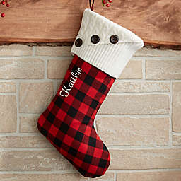 Buffalo Check Christmas Stocking in Red