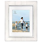Prinz Coastal 11-Inch x 14-Inch Matted Grooved Wood Plank Picture Frame in White