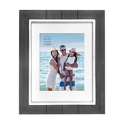 Prinz Coastal 8-Inch x 10-Inch Matted Grooved Wood Plank Picture Frame