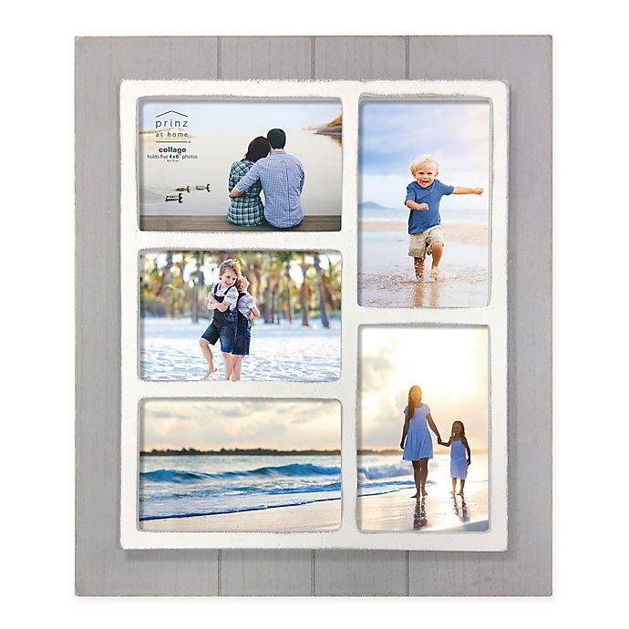 Alternate image 1 for Prinz Coastal 5-Photo 4-Inch x 6-Inch Collage Grooved Wood Picture Frame