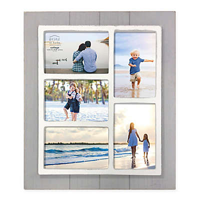 Prinz Coastal 5-Photo 4-Inch x 6-Inch Collage Grooved Wood Picture Frame
