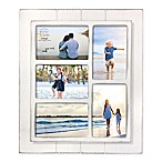 Prinz Coastal 5-Photo 4-Inch x 6-Inch Collage Grooved Wood Picture Frame in White