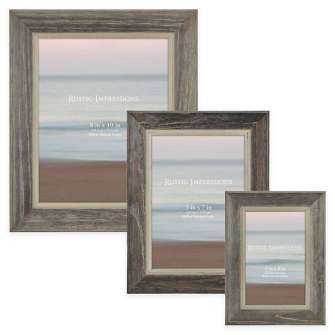 Alternate image 1 for Rustic 2-Tone Wood Picture Frame in Grey