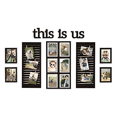 "Wallverbs 16-Photo 10-Piece ""This is Us"" Photo Frame Collection in Distressed Black"