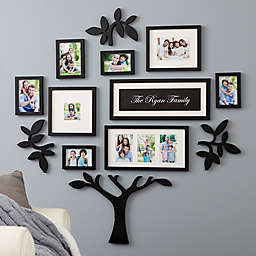 """WallVerbs™ 13-Piece """"Family"""" Personalized Tree Set in Black"""