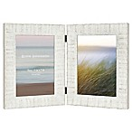 Rustic Wood 2-Photo Hinged Picture Frame in White