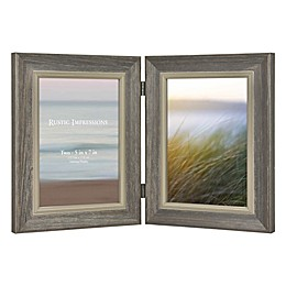 Rustic Wood 2-Photo Hinged Picture Frame in Grey