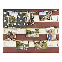 American Flag 18.75-Inch x 34-Inch 15-Photo Collage Clip Picture Frame