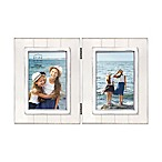 Prinz Coastal Grooved 2-Photo Hinged Picture Frame in White