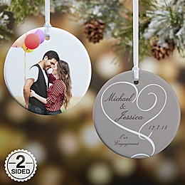 Our Engagement Photo 2-Sided Glossy Christmas Ornament