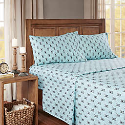 True North by Sleep Philosophy French Bulldog Cozy Flannel California King Sheet Set in Aqua