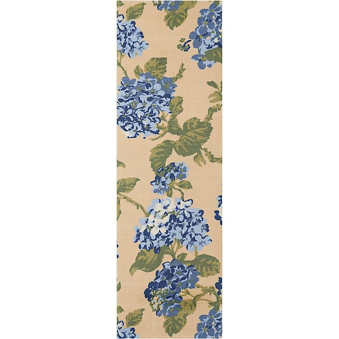 Alternate image 1 for Waverly Sun & Shade 1-Foot 10-Inch x 6-Foot Indoor/Outdoor Runner in Yellow/Blue