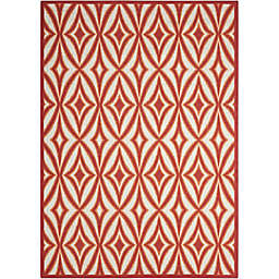 """Nourison Sun and Shade 7'9"""" x 10""""10"""" Indoor/Outdoor Power-Loomed Area Rug in Red"""