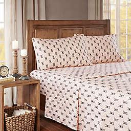 True North by Sleep Philosophy French Bulldog Cozy Flannel Twin XL Sheet Set in Pink