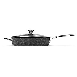 STARFRIT The ROCK Nonstick 5.2 qt. Deep Fry Pan with Lid in Black