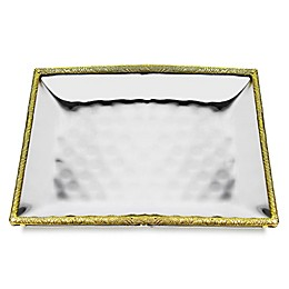 Classic Touch Tervy Spaghetti 11.2-Inch Square Hammered Tray in Gold