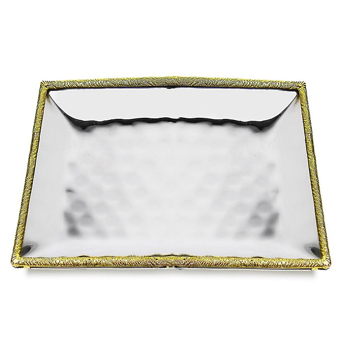 Alternate image 1 for Classic Touch Tervy Spaghetti 11.2-Inch Square Hammered Tray in Gold