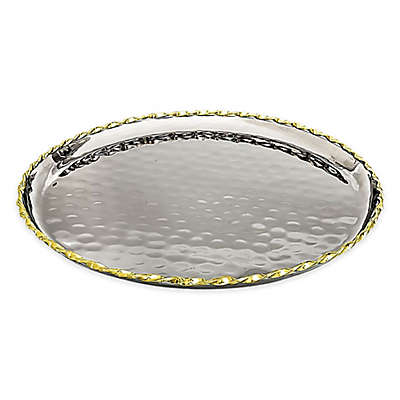 Classic Touch Tervy 15-Inch Round Hammered Tray with Gold Trim