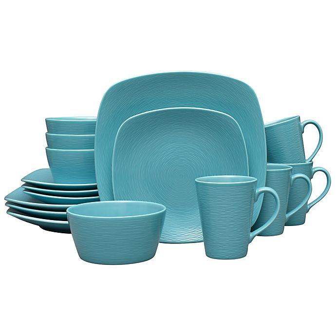 Alternate image 1 for Noritake® Turquoise on Turquoise Swirl 16-Piece Square Dinnerware Set