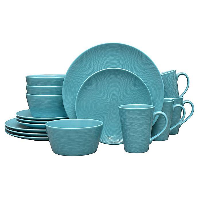 Alternate image 1 for Noritake® Turquoise on Turquoise Swirl 16-Piece Coupe Dinnerware Set