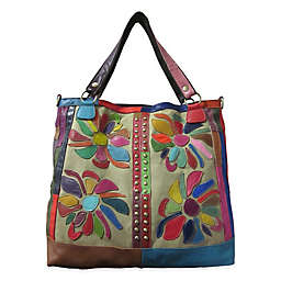Rosalie Leather Tote Bag in Rainbow