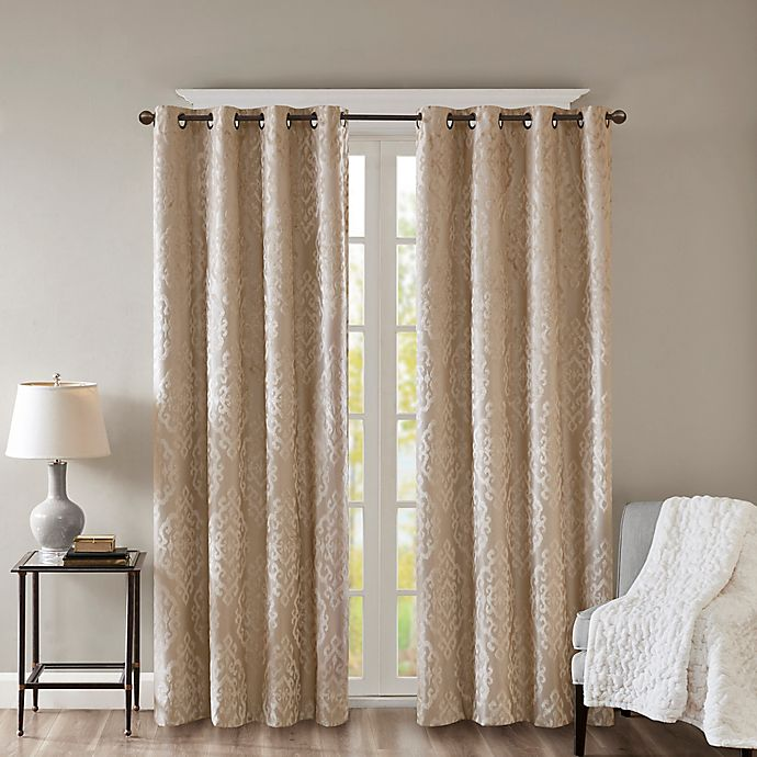 Alternate image 1 for SunSmart Mirage Knitted 108-Inch Grommet Top 100% Blackout Window Curtain Panel in Champagne