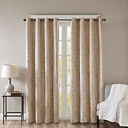 SunSmart Mirage Knitted 84-Inch Grommet Top 100% Blackout Window Curtain Panel in Champagne (Single)