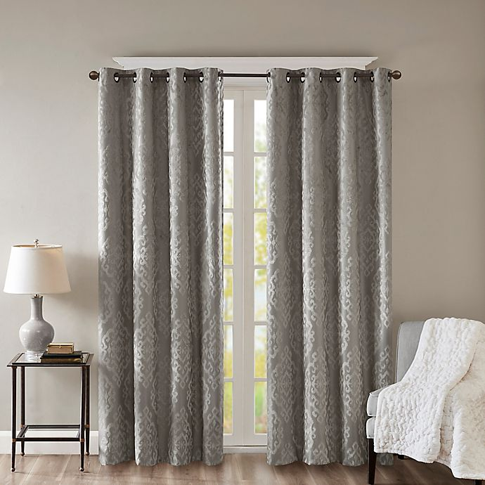 Alternate image 1 for SunSmart Mirage Knitted 108-Inch Grommet Top 100% Blackout Window Curtain Panel in Charcoal