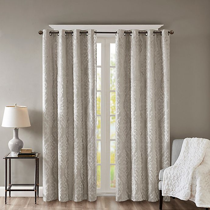 Alternate image 1 for SunSmart Mirage Knitted 108-Inch Grommet Top 100% Blackout Window Curtain Panel in Grey