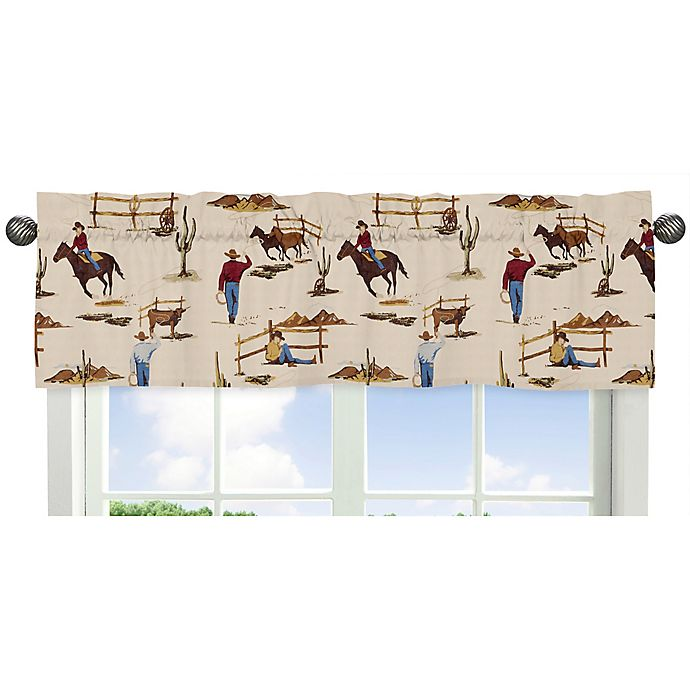 Alternate image 1 for Sweet Jojo Designs Wild West Cowboy Print Window Valance in Red