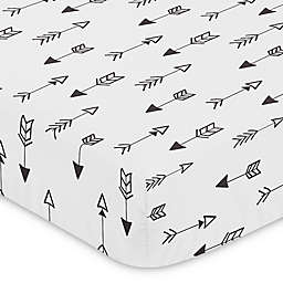 Sweet Jojo Designs Fox Arrow Print Fitted Crib Sheet in Black/White
