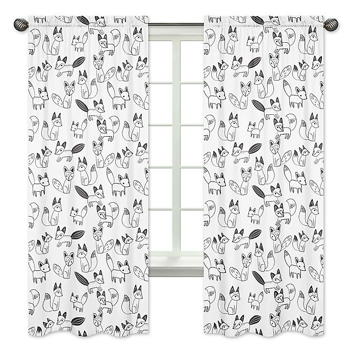 Alternate image 1 for Sweet Jojo Designs Fox Print 84-Inch Window Panels in Black/White (Set of 2)