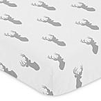Sweet Jojo Designs Stag Deer Print Fitted Crib Sheet in Grey/White