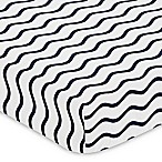 Sweet Jojo Designs Whale Wave Print Fitted Crib Sheet in Blue/White