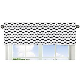 Sweet Jojo Designs® Whale Chevron Wave Print Window Valance in Blue/White