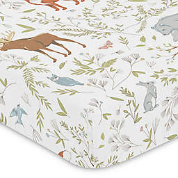 Sweet Jojo Designs Woodland Toile Animal Print Fitted Crib Sheet