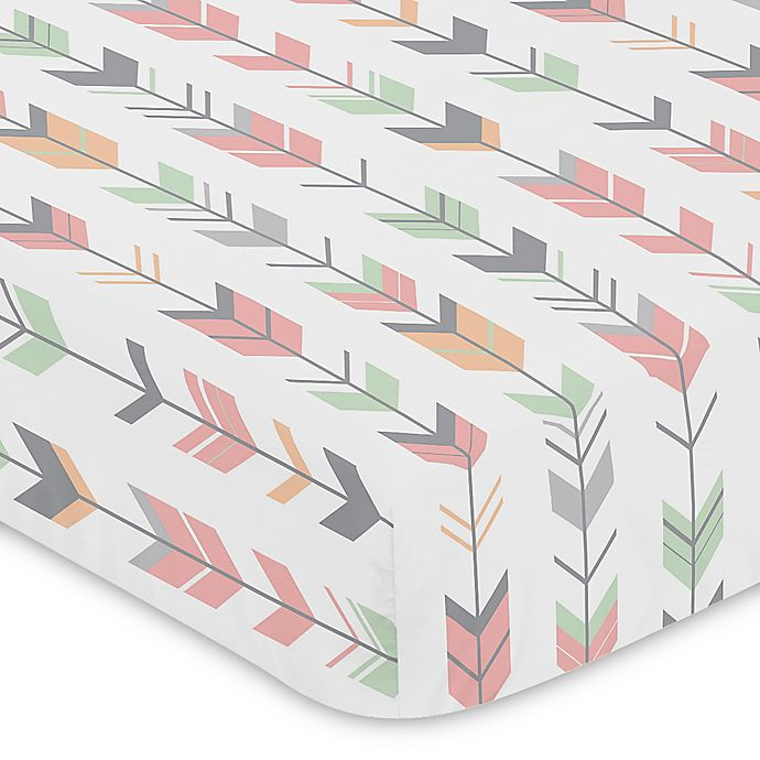 Alternate image 1 for Sweet Jojo Designs Woodsy Arrow Print Fitted Crib Sheet in Coral/Mint