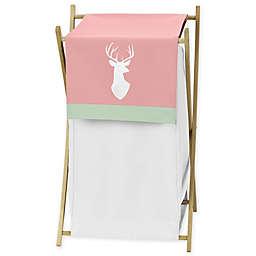 Sweet Jojo Designs® Woodsy Laundry Hamper in White/Coral