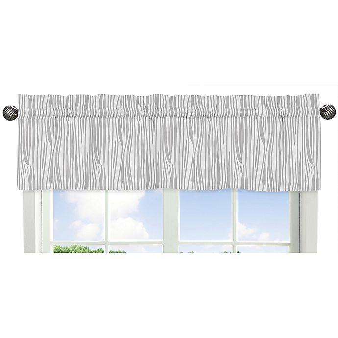 Alternate image 1 for Sweet Jojo Designs Woodsy Wood Grain Print Window Valance in Grey/White
