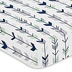 Sweet Jojo Designs Woodsy Arrow Print Fitted Crib Sheet in Navy/Mint