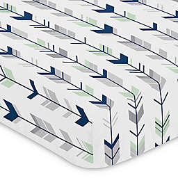 Sweet Jojo Designs Woodsy Arrow Print Fitted Crib Sheet in Navy/Mint
