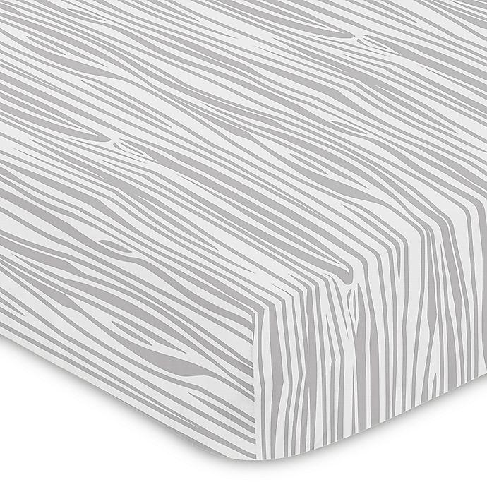 Alternate image 1 for Sweet Jojo Designs Woodsy Wood Grain Print Fitted Crib Sheet in Grey/White