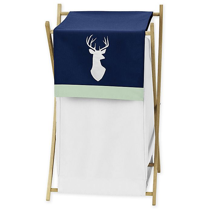 Alternate image 1 for Sweet Jojo Designs Woodsy Laundry Hamper Navy/White