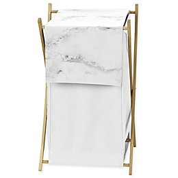 Sweet Jojo Designs Marble Laundry Hamper in Grey/White
