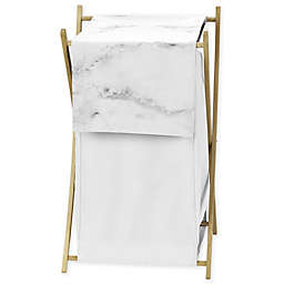 Sweet Jojo Designs Marble Laundry Hamper in Grey/White