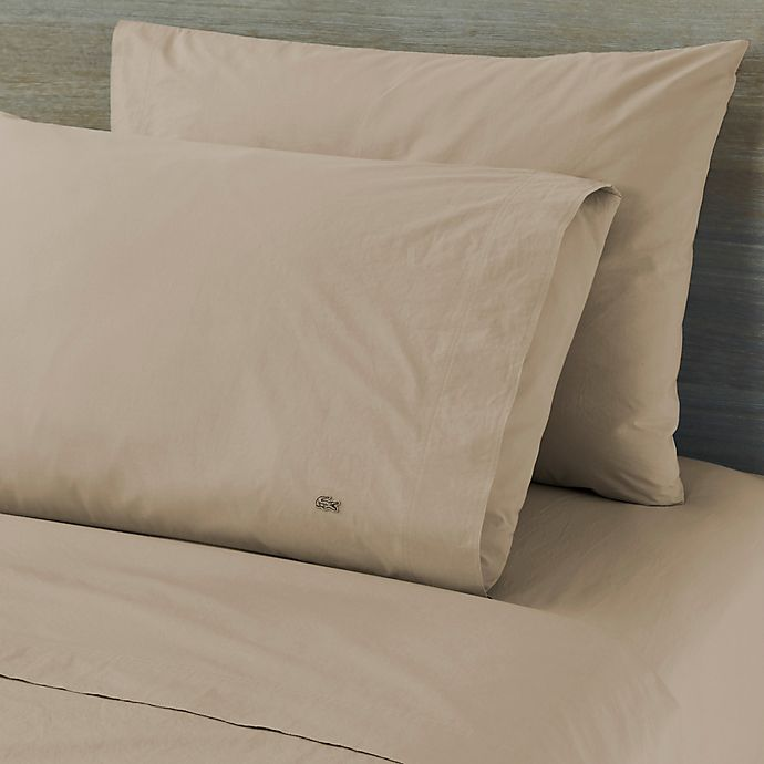 Alternate image 1 for Lacoste™ Solid Washed Cotton Percale 300-Thread-Count California King Sheet Set in Tan