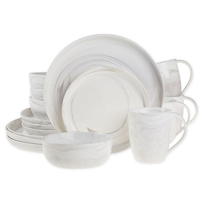 Alternate image 1 for Artisanal Kitchen Supply® Coupe Marbleized 16-Piece Dinnerware Set in Grey