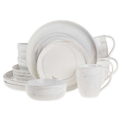 Artisanal Kitchen Supply® Coupe Marbleized Coupe 16-Piece Dinnerware Set in Grey