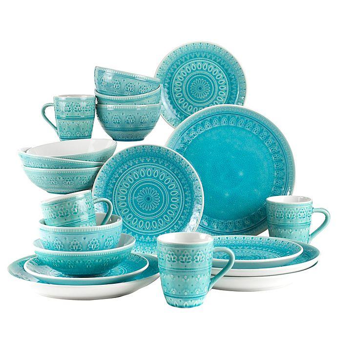 Alternate image 1 for Euro Ceramica Fez 20-Piece Dinnerware Set in Turquoise
